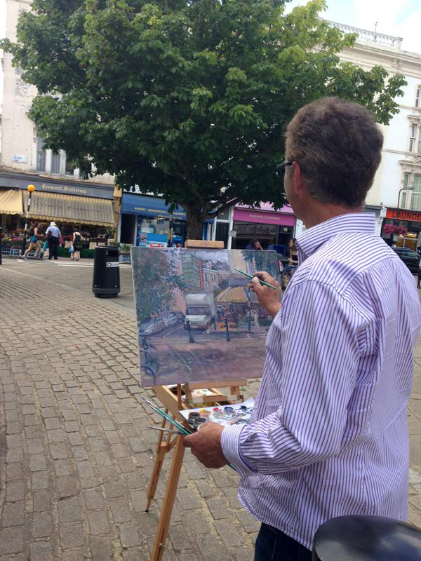 Alan Lancaster painting in Belsize village