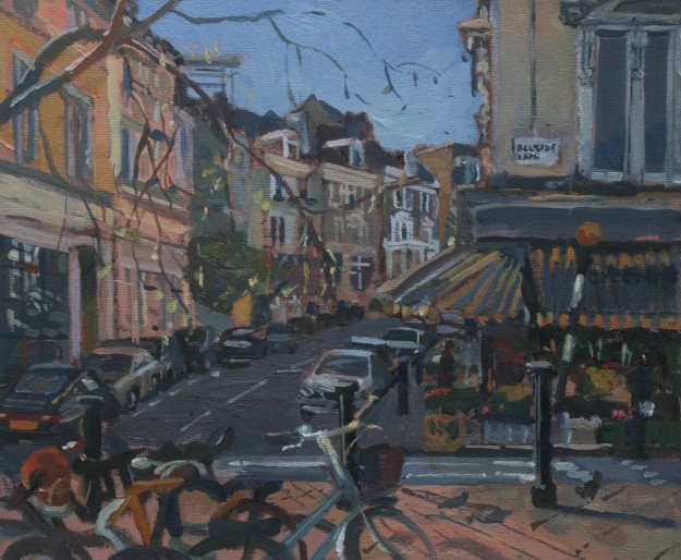 Plein air landscape painting of Belsize Village