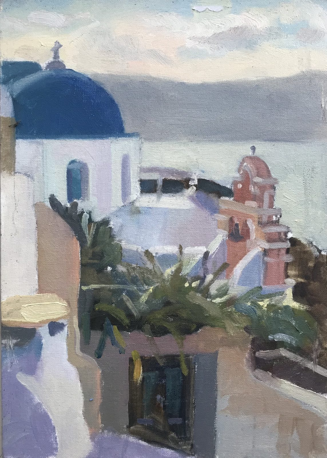 Pink Bell Tower Santorini 10 x 14