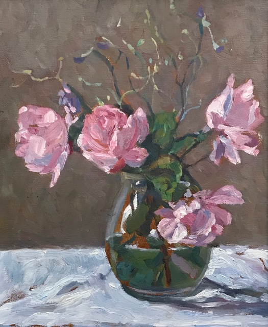 4 Pink Roses in a Glass Vase (10 x 12) £295.00
