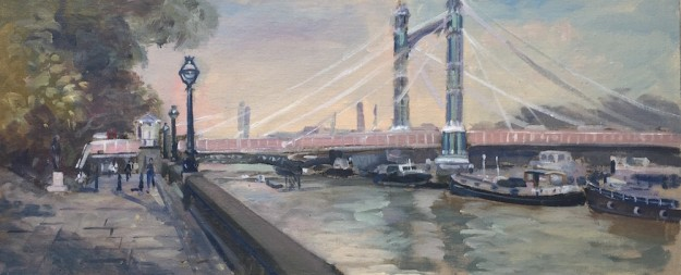 Albert Bridge Looking East, September Afternoon (10 x 24) £475
