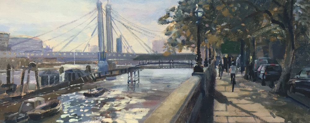 Albert Bridge. late September afternoon (10 x 24) £450