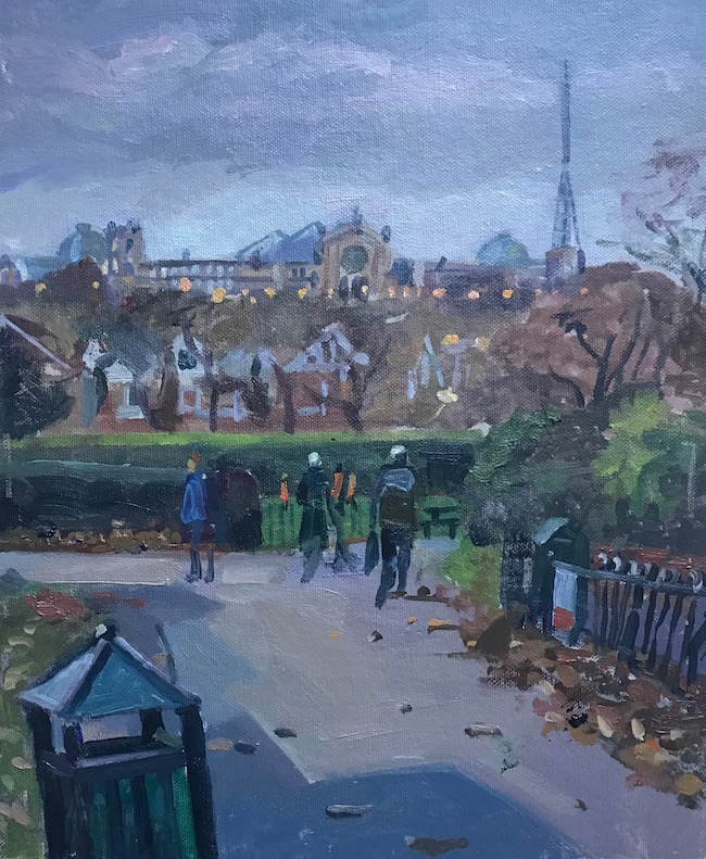 Alexandra Palace from Priory Park, late October (10 x 12) £295
