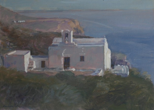 Church Overlooking the Sea with Pink Light (10 x 12 ) SOLD