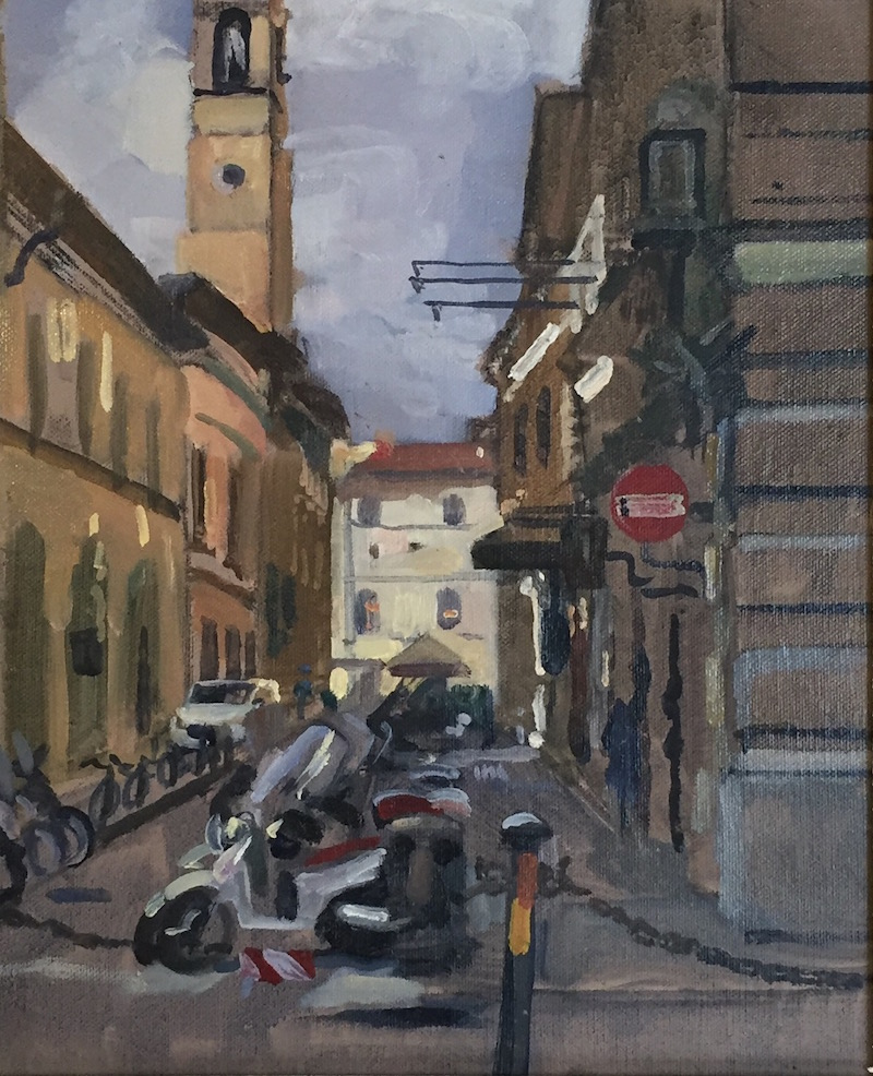 Scooter bay off Via Strozzi. Florence (10 x 12 inches) £295