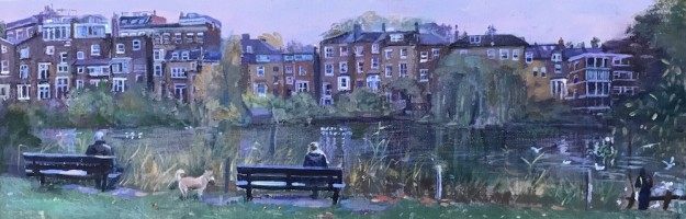 Hampstead Duck Pond, early November (8 x 24) SOLD
