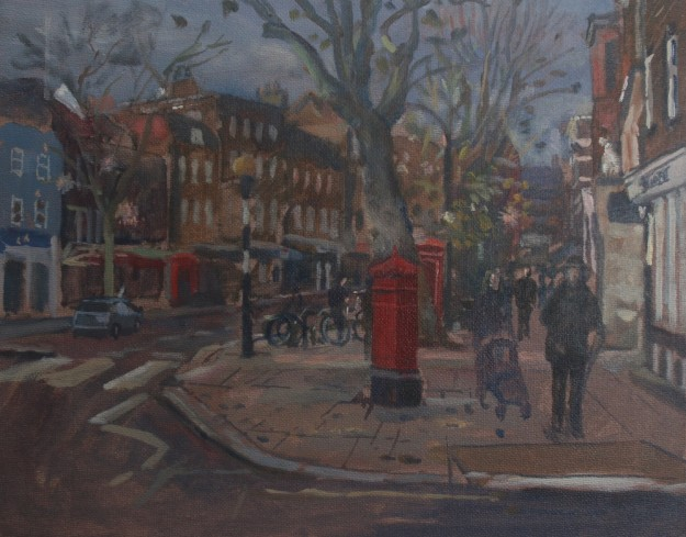Hampstead High Street. Christmas Lights (10 x 12) SOLD