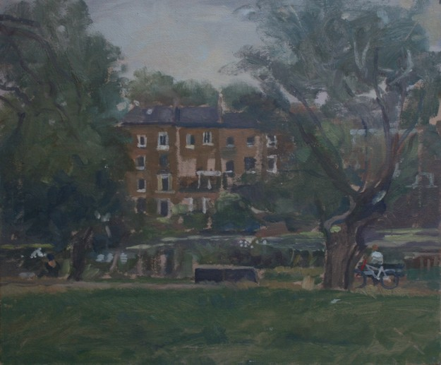 Hampstead Ponds with a bicycle (12 x 10) £295