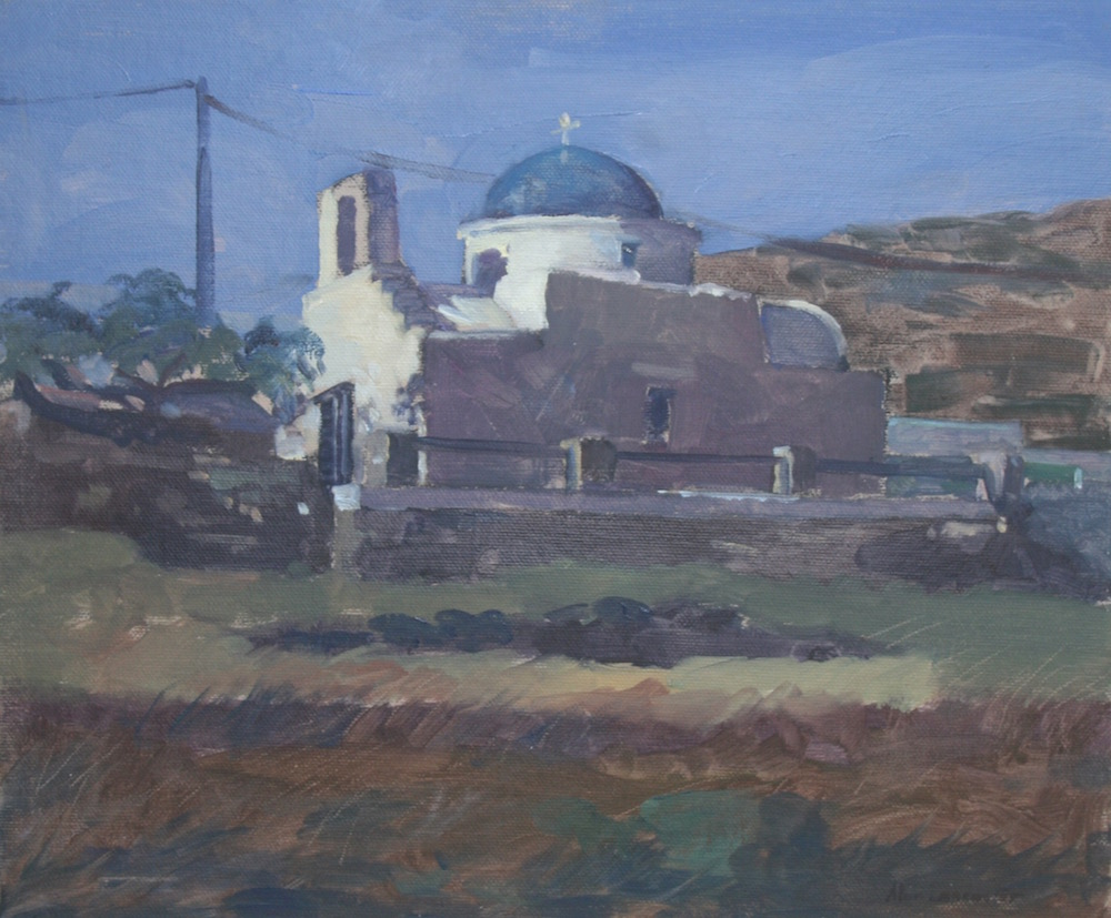 "Beautiful Morning Overlooking a Hillside Church in Sifnos 10"" x 12"""