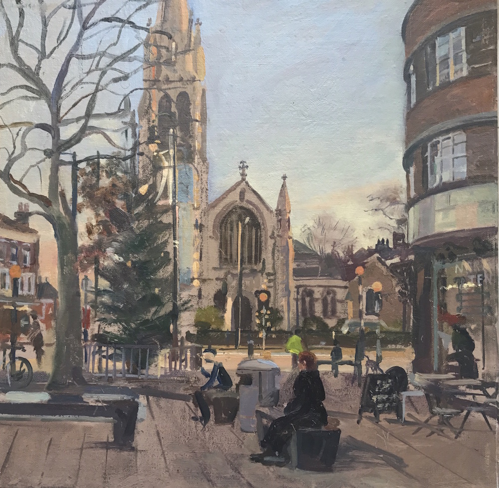 Muswell Hill Xmas Tree (12 x 12) £350 for single gilt frame £370 for double gilt detail