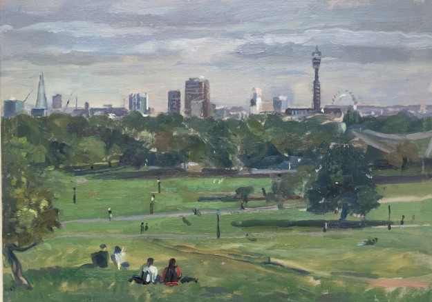 Primrose Hill. cloudy late September morning (10 x 14) SOLD