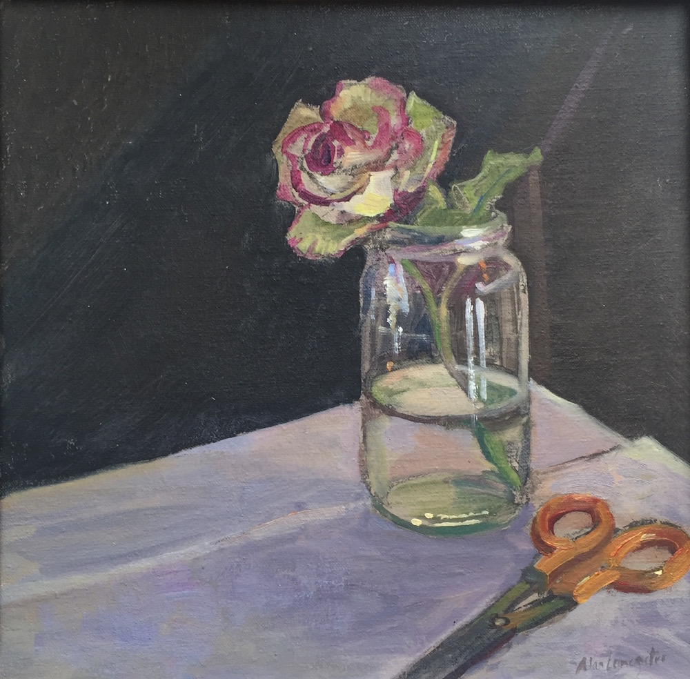 Rose in jam jar with scissors (12 x 12) £295