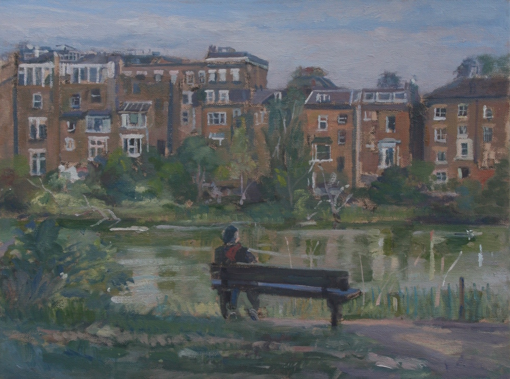 Seated Figure Overlooking Hampstead Ponds (12 x 16) SOLD