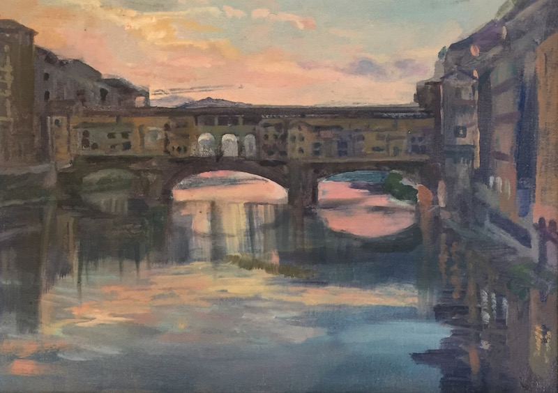 "Sunrise over The Ponte Vecchio. Florence 10"" x 14"" £225 (AVAILABLE)"