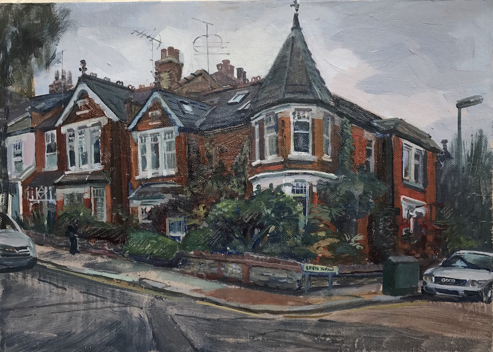 Turreted House Muswell Hill. mid October afternoon (10 x 14) £325