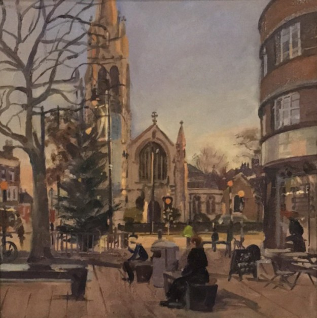 Muswell Hill Christmas Tree , Early December (12 x 12 ) £350 or £375 with double gilt frame
