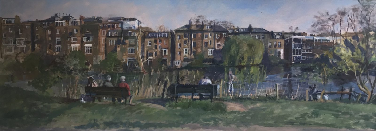 "Hampstead Pond on an Overcast Day 16"" X 20 SOLD"