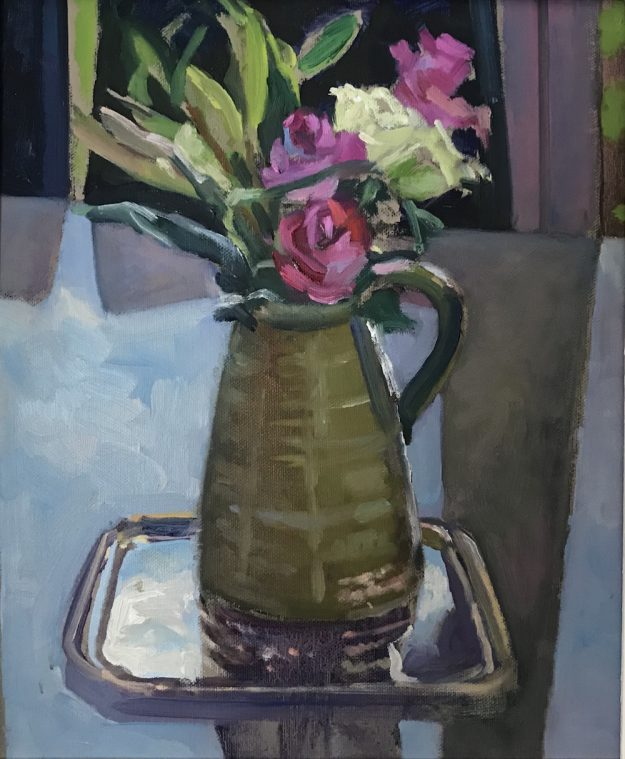 "Roses in a Green Pitcher 10"" x 12"" £250"