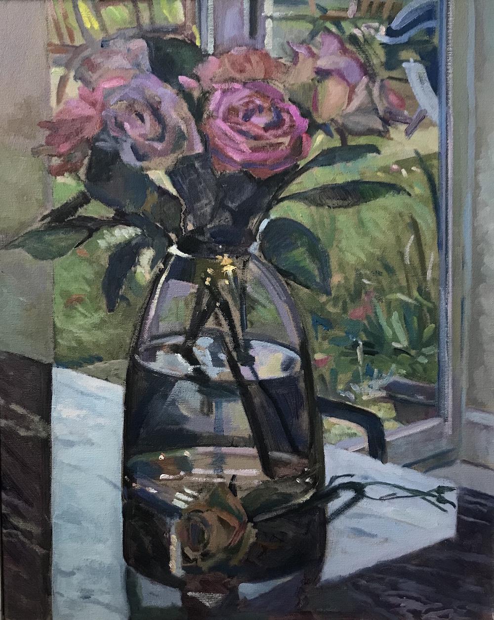 "Roses on a Granite worktop 16"" x 20"" £300"