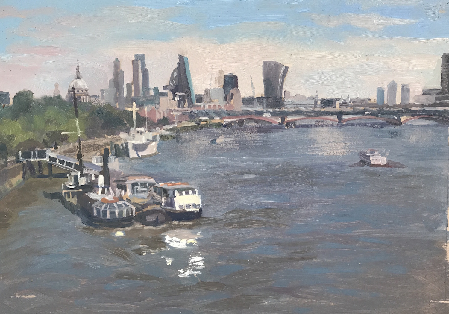"The City from Waterloo Bridge 1pm 10"" x 14"" £325"