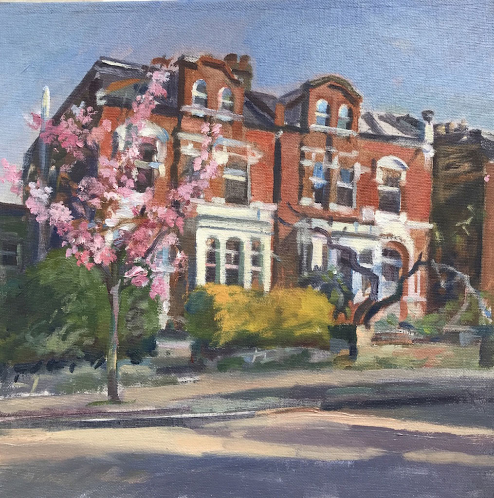 "Spring-Blossom- Cecile Park. Crouch End 12"" x 12"" £295"
