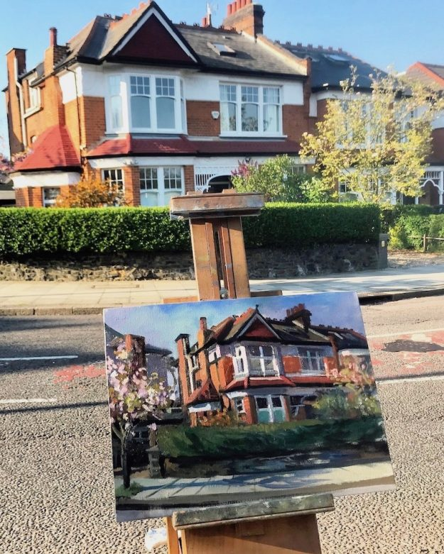 Corner House Cranley Gardens with Blossom Tree 12 x 16 AVAILABLE £250