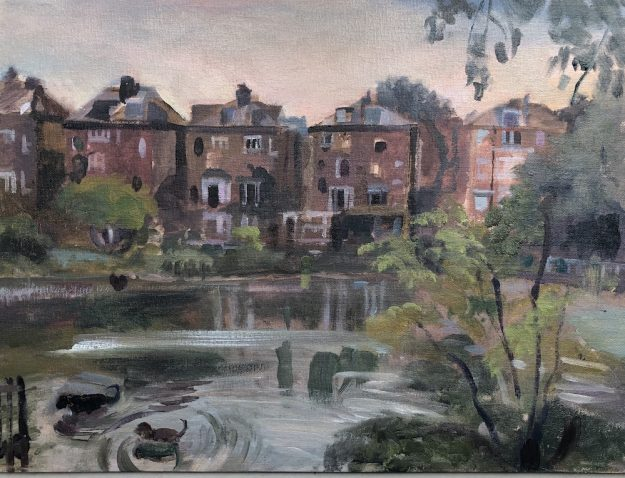 Dogs Playing in Hampstead Pond 12 x 16 (available)