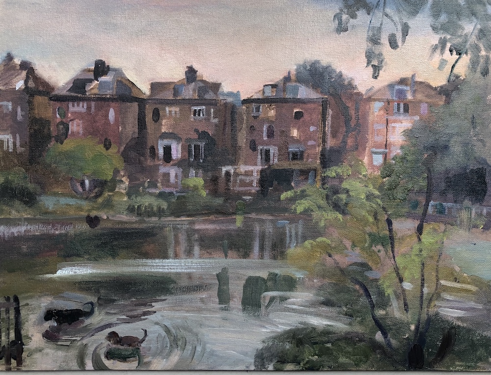 Dogs Playing in Hampstead Pond 12 x 16 (sold)