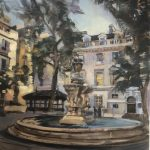 Fountain Courtyard. St Bartholemew's Hospital 12 x 16 Sold
