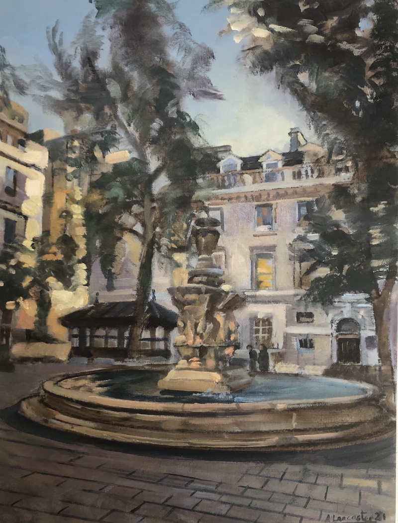 Fountain Courtyard. St Bartholemew's Hospital 12 x 16 Sold