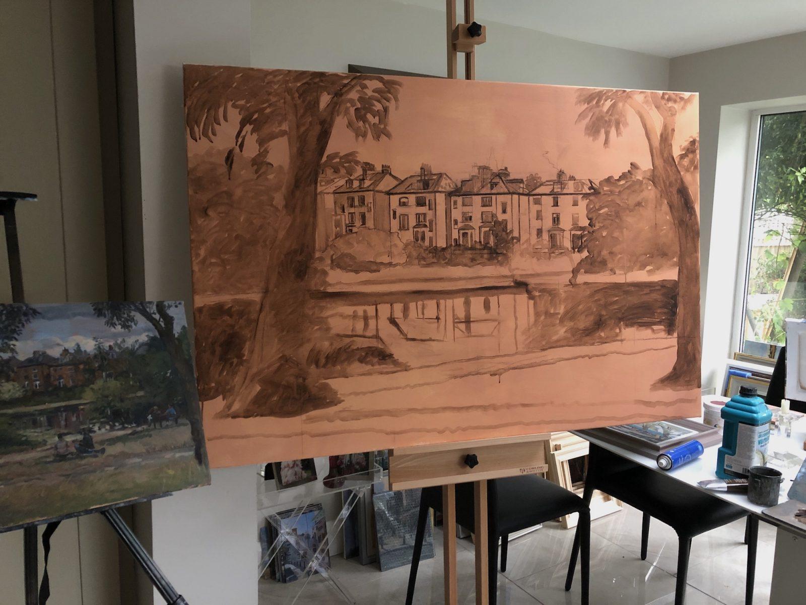 Hampstead Pond in Progress 100cms x 150cms