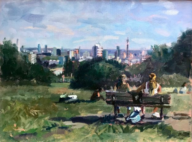 Two Portuguese Girls enjoying the View from Parliament Hill 12 x 16 (SOLD)
