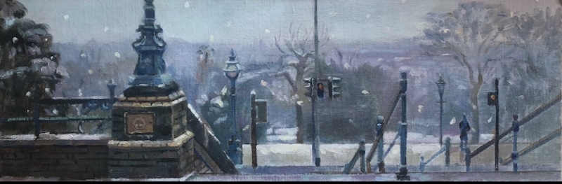 "Snow covered View from Alexandra Palace 8"" x 24"" (Available) £495.00"