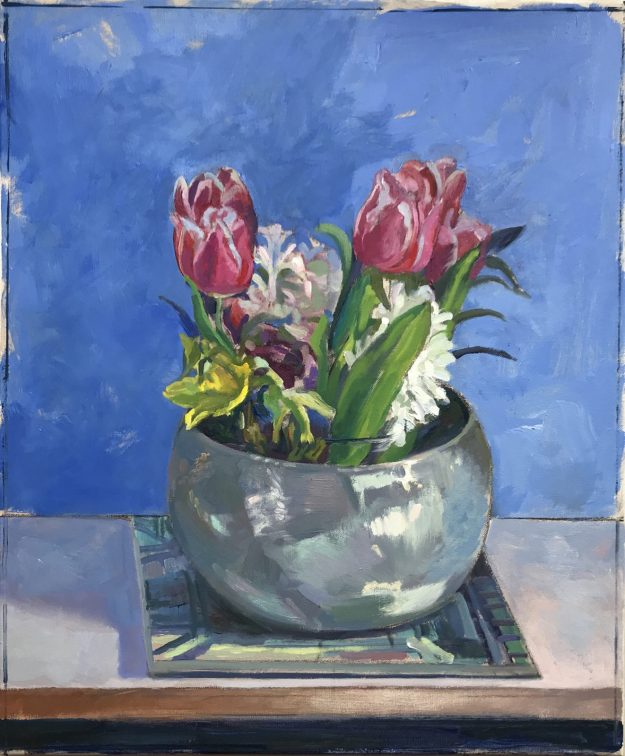 Spring Flowers in a Silver Bowl 20 x 16 £450