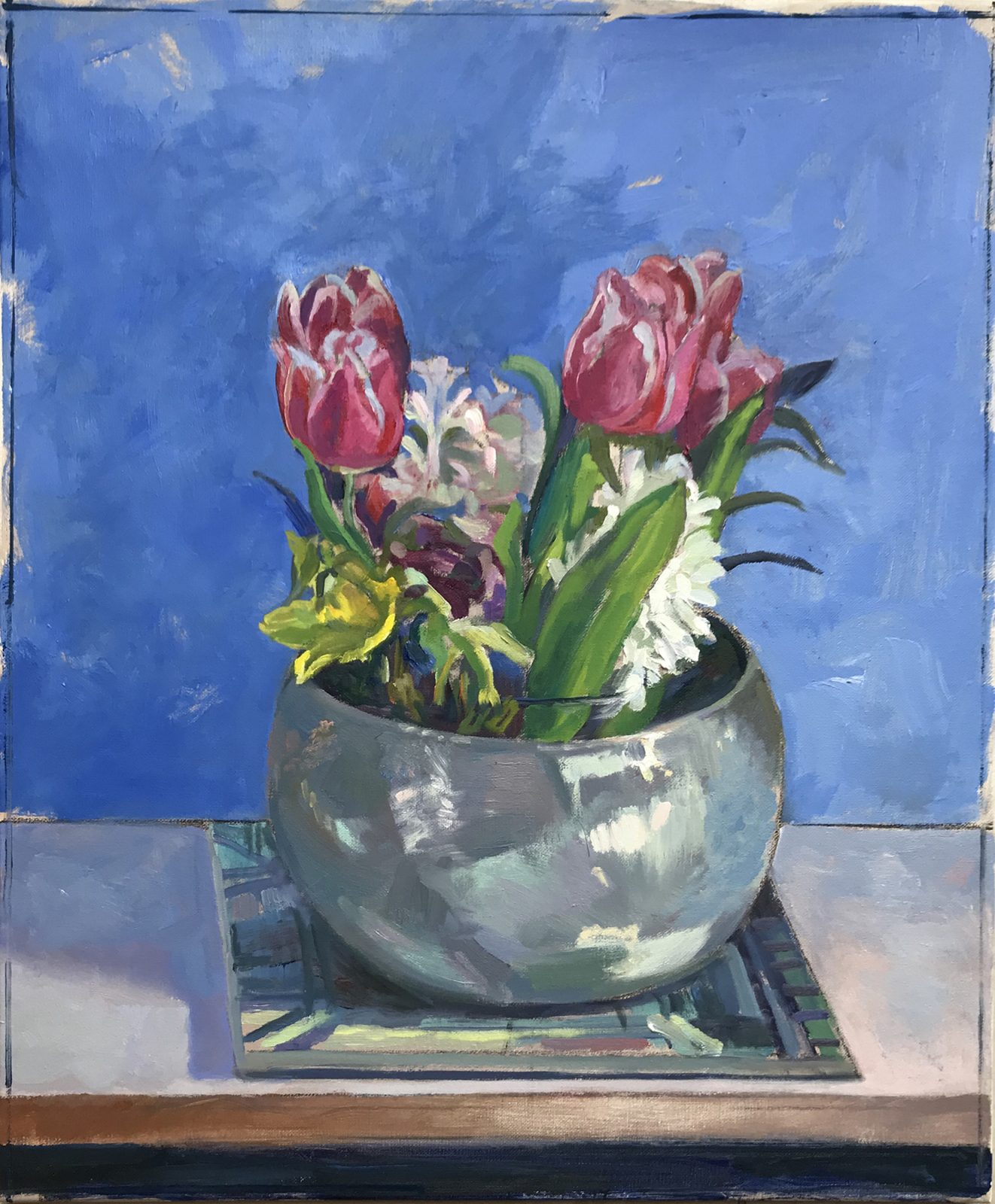 "Spring Flowers in a Silver Bowl 20"" x 24"" Available £350"
