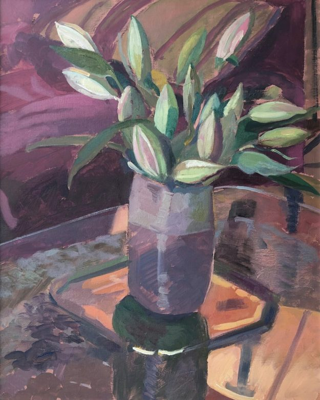 Spring Lillies in a Mauve Vase 16 x 20 £350
