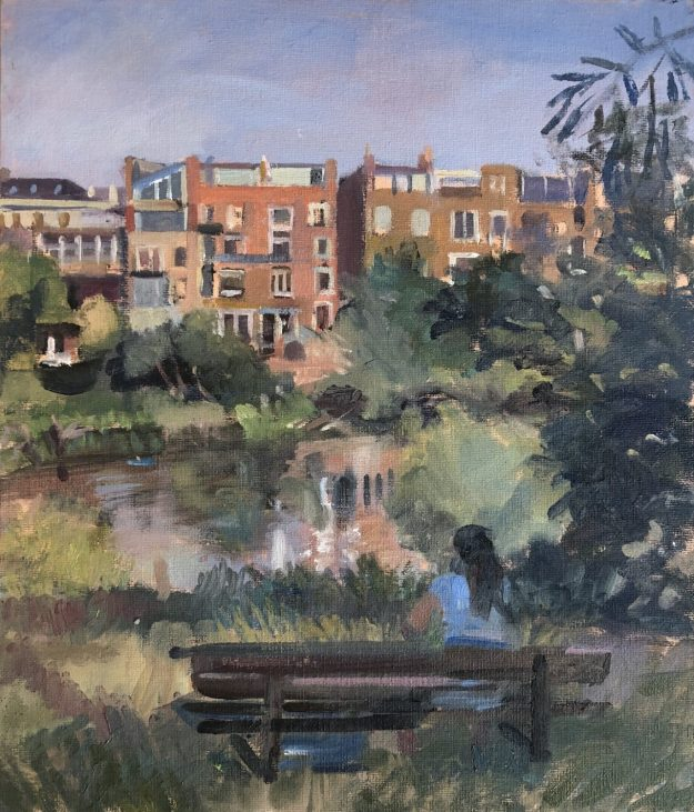 """Summer afternoon Hampstead Ponds 12"""" x 14"""" (Sold)"""