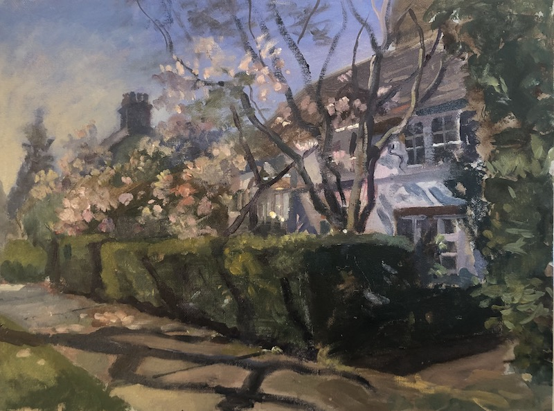 """White Cottage with Blossom. Hampstead Garden Suburb 12"""" x 16"""" Available £300"""