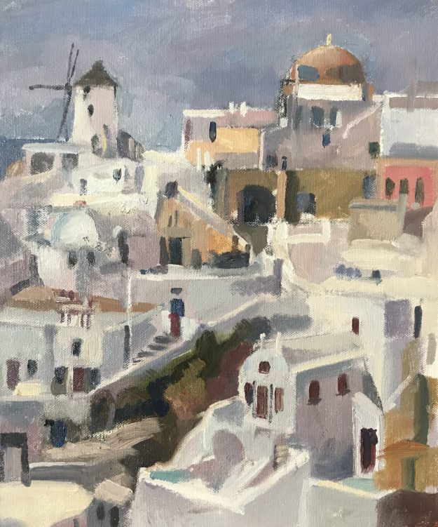 Windmill on Hillside Santorini 10 x 12 NFS